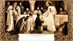 Jesus Christ Giving Communion to the Holy Apostles   - First Holy Communion certificate, c.1918