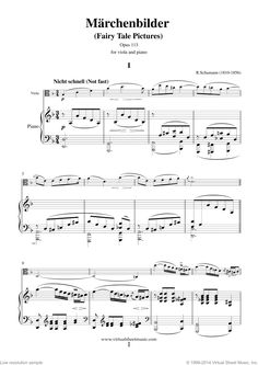 Schumann - Marchenbilder (Fairy Tale Pictures), Piece No. 1 sheet music for viola and piano