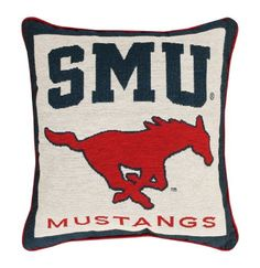 "NCAA Southern Methodist University Mustangs Logo Tapestry Throw Pillow 17"" x 17"" by Manual Weavers, http://www.amazon.com/dp/B009YKDUZY/ref=cm_sw_r_pi_dp_tBterb0WWKNER"