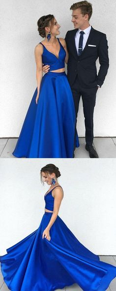 Royal blue V neck satin two piece long prom dress 0426 by RosyProm, $126.99 USD