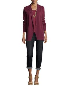 -5YCG Eileen Fisher  Notched-Collar Interlock One-Button Jacket, Petite Silk-Jersey Tank Top, Passion Flower, Petite Stretch Boyfriend Jeans, Petite