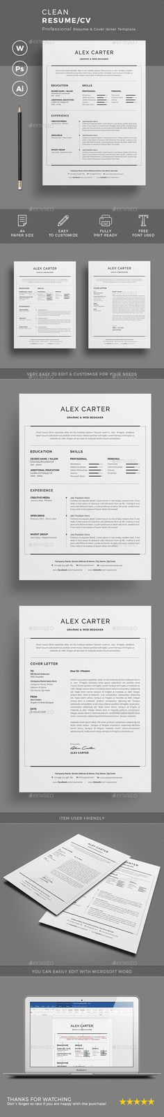 Clean Resume\/CV Resume cv, Cleanses and Resume - clean resume design
