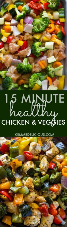 15 Minute Healthy Roasted Chicken and Veggies One Pan Recipe - Healthy and flavorful dinner idea. Oven roasted chicken breasts and rainbow veggies are tender & juicy and ready in 15 minutes. Healthy Cooking, Healthy Snacks, Healthy Eating, Cooking Recipes, Healthy Recipes, Game Recipes, Dinner Healthy, Paleo Dinner, Juice Recipes