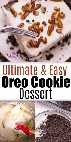 Crushed, buttery Oreos create the perfect crust for this luscious, creamy dessert that will melt away your troubles! Love teh nutty crunch at the end of every bite! #easydesserts #Oreodessert #Oreadelight #easydelight #easyOreodessert #desserts#Oreocookiedessert #cookiedelight