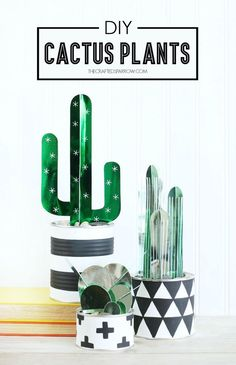 These shiny cacti are crafted from colorful foil.