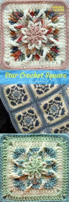 #SquareStar for #CrochetAfghan #FreePattern Crochet → Squarte | Size: 7"