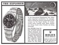 Rolex Explorer Watch Oyster Perpetual 1959 Ad Picture
