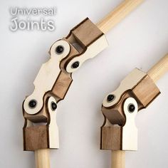 Laser-cut universal joints.