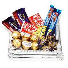 India Flower Plaza Provide Best Gifts For This Diwali Silver Tray With Chocolates Chocolate Basket