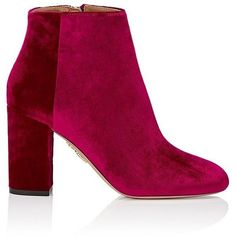 Aquazzura Women's Brooklyn Velvet Ankle Booties ($825) ❤ liked on Polyvore featuring shoes, boots, ankle booties, ankle boots, pink, high heel bootie, block heel ankle boots, round toe ankle boots and velvet booties #highheelbootsankle