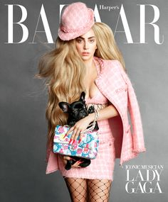 Lady Gaga Covers Harper's Bazaar With New Puppy Asia, Bonds With Karl Lagerfeld