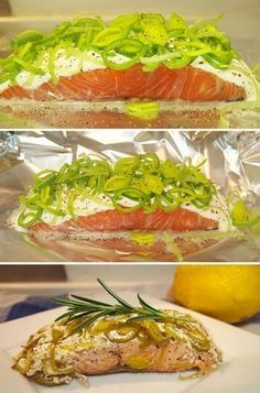 2 salmon filets 4 T creme fraiche Leeks, cleaned and sliced Lemon juice Salt and pepper Fish And Meat, Fish And Seafood, Good Food, Yummy Food, Fodmap Recipes, Dinner Is Served, Fish Dishes, Easy Healthy Recipes, Fish Recipes