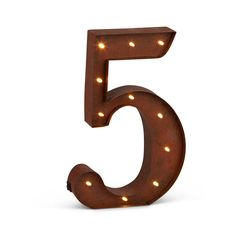 """12""""H Battery Operated LED Letter, Timer, Number 5"""
