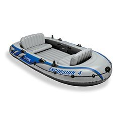 Amazon.com : Intex Excursion 4, 4-Person Inflatable Boat Set with Aluminum Oars and High Output Air Pump (Latest Model) : Open Water Inflatable Rafts : Sports & Outdoors