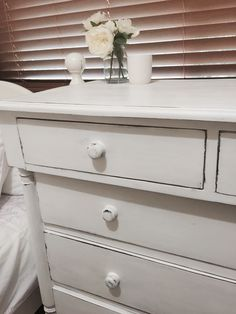 https://www.facebook.com/Old-Favourites-533049253526229/ Custom painted with white chalk paint...shabby chic style chest of drawers.