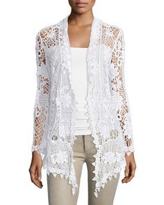 Neiman Marcus Crochet Open-Front Cardigan, White