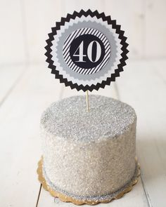 40th Masculine Birthday Party Cake Topper. Fully assembled. Black/ Silver party decoration / decor. Customizable. by CharmingTouchParties on Etsy
