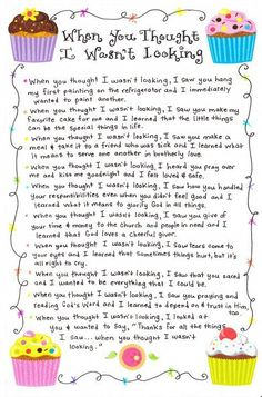 """""""When You Thought I Wasn't Looking"""" Printable Poem"""