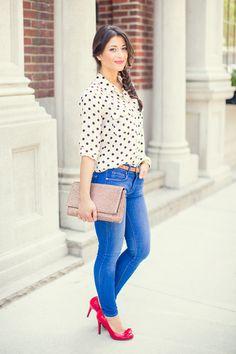 Camisa estampada Calça skinny jeans