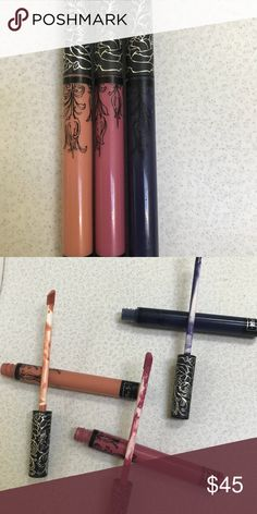 Bundle of 3 Kat Von D liquid lipsticks Used once, not my shades. Colors lovesick, echo and noble. $20.00 originally per lipstick. Makeup Lipstick
