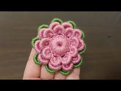 How to make a knit flower # knittingmodels # knittingflowers - Flores Crochet Motif Patterns, Crochet Patterns For Beginners, Knitting Patterns, Crochet Buttons, Crochet Doilies, Crochet Hooks, Irish Crochet, Hand Crochet, Crochet Baby