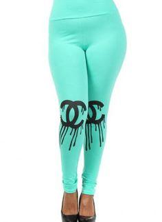 CC Leggings, plus size leggings Chanel mint, Urban / Streetwear
