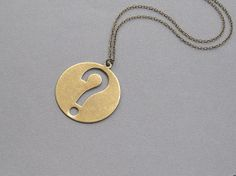 Question Mark Necklace Oxidized Brass Large Round Pendant Toggle Clasp Long Antique Chain