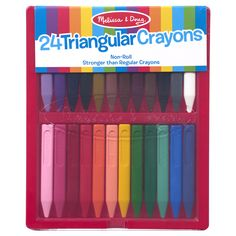 These ingenious, triangular shaped crayons won't roll away. Made of plastic for additional durability, this set of 24-rainbow color crayons stay on the table--just where your little artist put them! They pack into their own sturdy, plastic flip-top case for easy clean up. The unique shape will help kids develop the preferred grip for later writing skills. Kite Shop, Toy Musical Instruments, Letter Games, Crayon Set, Puzzle Shop, Color Crayons, Cool Lettering, Melissa & Doug, Cleaning