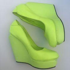 Senso Agnes Neon Platform Wedge Fleuro Green Women's Size 40 US 9 Solestruck Club Shoes, Platform Wedge, Wedges, Neon, Best Deals, Heels, Shopping, Ebay, Fashion