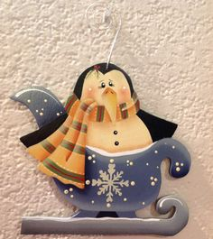 Sweet Penguin In sleigh Christmas Wood by Bronsonscraftsnsuch, $5.50