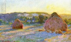 Grainstacks At The End Of Summer  Evening Effect Claude Oscar Monet | Oil Painting Reproduction | 1st-Art-Gallery.com