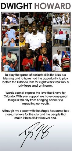 Dwight Howard takes out full page ad in the Orlando Sentinel