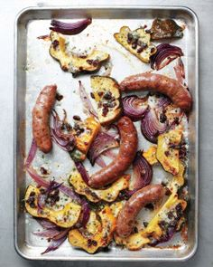 Sheet-Pan Suppers // Sausages with Acorn Squash and Onions Recipe