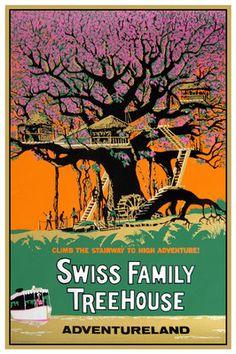 Vintage Disney Collector's Poster Adventureland Swiss Family Treehouse