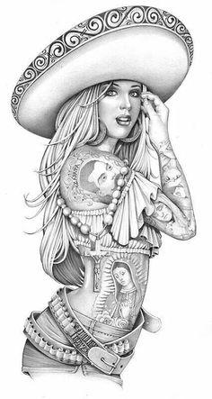 Coloring for adults - Kleuren voor volwassenen Mais Art Chicano, Chicano Art Tattoos, Chicano Drawings, Art Drawings, Cholo Tattoo, Arte Cholo, Cholo Art, Art Latino, Los Muertos Tattoo