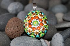 Image of Colorful Mandala Pendant Stone 26