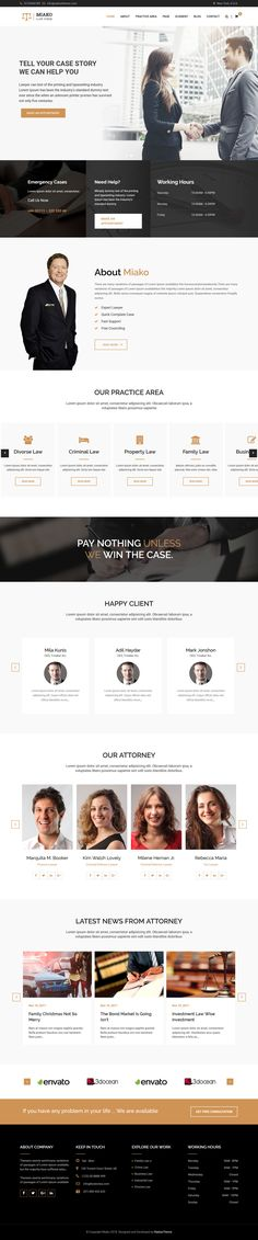 Miako – Lawyer  Law Firm WordPress Theme is fully responsive  mobile friendly WordPress Theme. This theme included 6 different home pages multi-pages and 6 one-pages layout. So you can easily create one page WordPress theme using Miako Legal  All codes are HTML5 and CSS3 validated and all modern browser compatible and all device supported. Miako Legal theme main purposes to use on Lawyer, Law Firm, Lawyer Institute, Personal Law business and Law Firm Business. Professional Wordpress Themes, Legal Advisor, Team Page, Sales And Marketing, Lawyer, Layouts, Modern Design, Website, Live