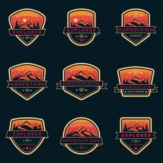 Set Of Orange Outdoor And Adventure Logo Badge Template For Mountaineering, Scout, Forest Ranger, Outdoor Gear Shop With Vintage Shield Style Badge Template, Gear Shop, Mountaineering, Logo Design Inspiration, Outdoor Gear, Ranger, Templates, Adventure, Logos