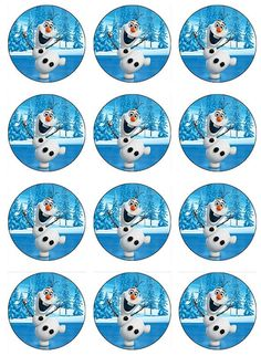 Disney Frozen Olaf Edible Cupcake Toppers by ChrisCakeArt on Etsy Frozen Birthday Theme, Frozen Theme, Frozen Cake, 4th Birthday, Frozen Disney, Olaf Frozen, Edible Cupcake Toppers, Edible Cake, Bottle Cap Images