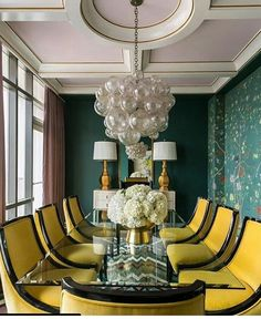 Get inspired by Modern Dining Room Design photo by Tobi Fairley Interior Design. Wayfair lets you find the designer products in the photo and get ideas from thousands of other Modern Dining Room Design photos. Yellow Dining Chairs, Dining Room Chairs, Dining Rooms, Dining Tables, Gold Chairs, Side Chairs, Accent Chairs, Luxury Dining Room, Dining Room Design
