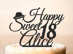 Feliz 18 cumpleaños pastel Topper personalizado con nombre y dulce 18 años, 18…