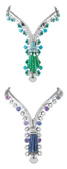 Unzip to wear as a necklace. Zip-up to wear as a bracelet. / Zip necklace from Van Cleef & Arpels. Created in 2011. The first features chrysoprase, turquoise and diamonds. The second showcases cushion-cut sapphires and sapphire beads. Each took 800 hours to craft.