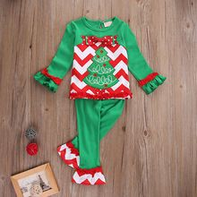 2016 Christmas Clothes Set Toddler Kids Baby Girls Xmas Children Clothes Outfits T-shirt Tops Dress+Pants 2PCS Sets(China (Mainland))