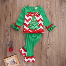 2016 Christmas Clothes Set Toddler Kids Baby Girls Xmas Children Clothes Outfits T-shirt Tops Dress+Pants 2PCS Sets(China (Mainland))