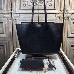 Saint Laurent 354105 Tote Bag In Grained Calfskin Black ] : Real Bag Sale Designer Handbags For Less, Cheap Designer Purses, Saint Laurent Tote, Saint Laurent Handbags, Handmade Leather Wallet, Brown Leather Wallet, Pink Leather, Patent Leather Handbags, Gold Handbags