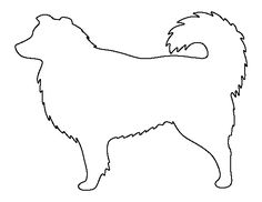 Australian shepherd pattern. Use the printable outline for crafts, creating stencils, scrapbooking, and more. Free PDF template to download and print at http://patternuniverse.com/download/australian-shepherd-pattern/