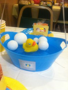 Rubber Ducky Baby Shower Centerpiece :)) Bubbles Are Foam Balls.