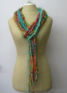 Southwest Teal braids Gypsy Fringe Scarf by PurpleSageDesignz, $19.00