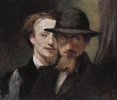 MARÉES, Hans von Double Portrait of Marées and Lenbach 1863 Oil on canvas, 54 x 62 cm Neue Pinakothek, Munich
