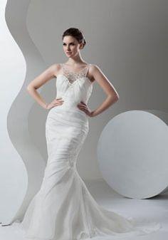 zipper beaded appliques scoop trumpet sleeveless court train wedding dress
